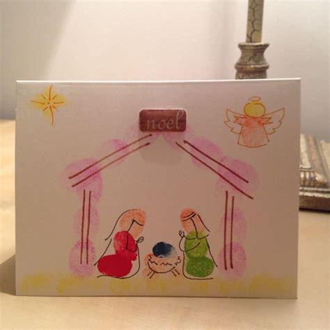 christmas card fingerprint nativity kids craft diy
