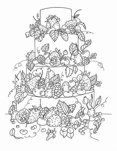Coloring Cake Fruit Pages Cakes Adult Adults