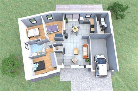 les chambres de la maison plan 3d d 39 une maison en v de plain pied avec 3 chambres
