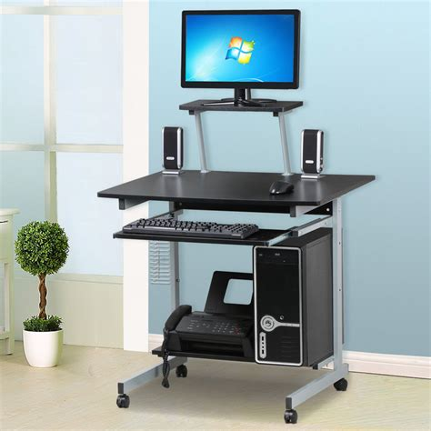 mobile computer desk mobile computer desk with keyboard tray printer shelf and