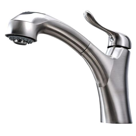 Nickel Kitchen Faucet by Whitehaus Collection Jem Collection Single Handle Pull Out