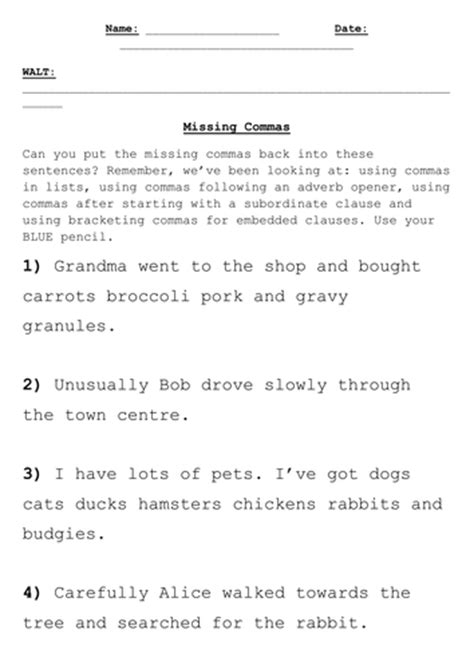 missing commas activity by jwraft teaching resources tes