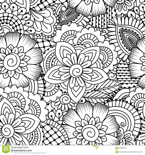 Coloring Background by Seamless Black And White Pattern Stock Vector Image