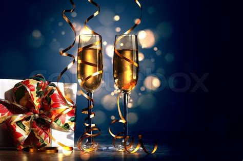 glasses  champagne   year party stock photo