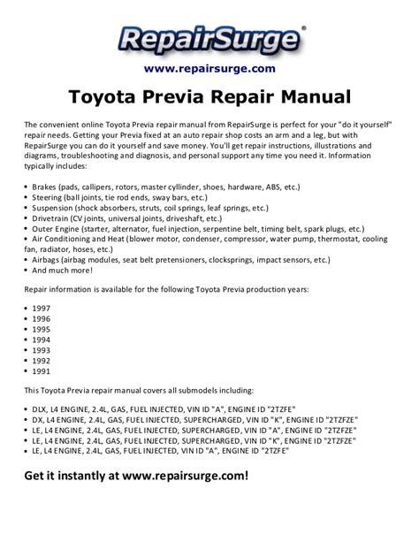 car maintenance manuals 1997 toyota previa user handbook toyota previa repair manual 1991 1997