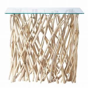 Console Verre Et Bois : table console en teck et verre l 100 cm rivage maisons du monde ~ Teatrodelosmanantiales.com Idées de Décoration