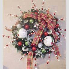 Clearance Sale Snowman Christmas Wreath Silk Holiday Door
