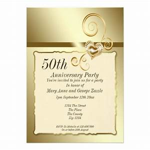 golden wedding anniversary heart 5x7 paper invitation card With golden wedding anniversary invitations