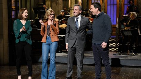 ed helms host snl saturday night live stages mini office reunion watch