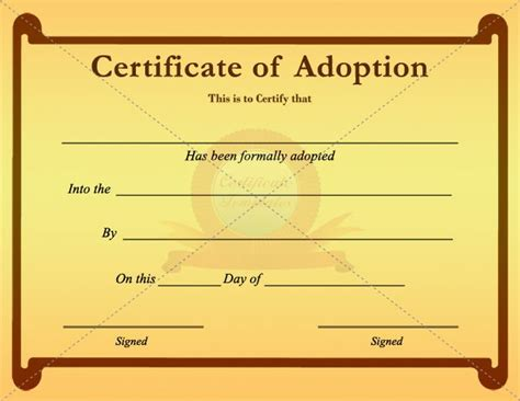 Blank Adoption Certificate Template by 20 Best Adoption Certificate Templates Images On