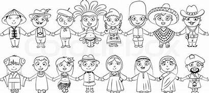 Coloring Harmony Pages Nationalities Clipart Colouring Diversity