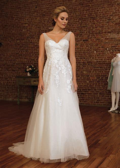 Davids Bridal Glamorous V Neck A Line Wedding Gown