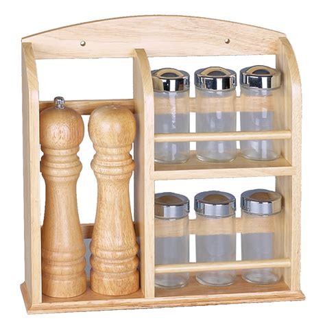 Salt And Pepper Spice Rack salt and pepper pepper mill kitchen wooden spice rack with