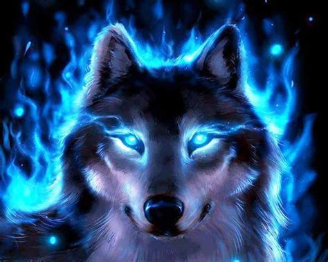 Cool Animal Wallpaper Light Wolf - wolf blue glowing abstract av3u