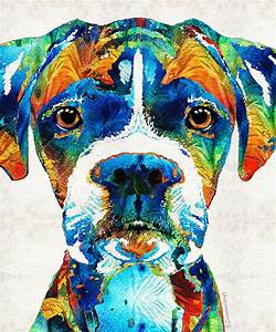 Colorful Boxer Dog Art By Sharon Cummings Painting by ...