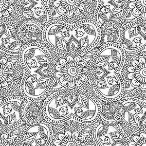 Disegni da colorare per adulti Seamles Henna Mehndi Doodles gli elementi floreali astratti