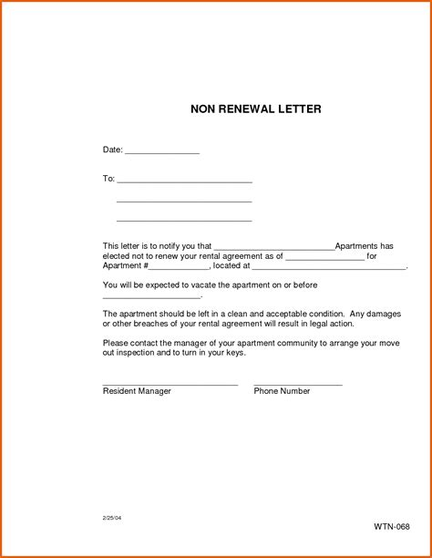renewing lease letter sample green brier valley