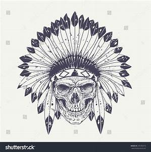 Dotwork Style Skull Indian Feather Hat Stock Vector ...