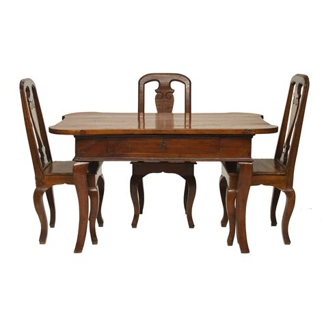 18th century italian walnut desk and three chairs