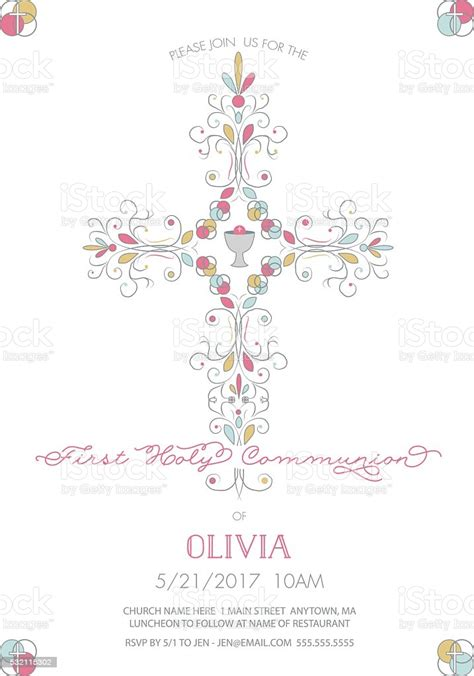 First Holy Communion With Cross Invitation Card Template