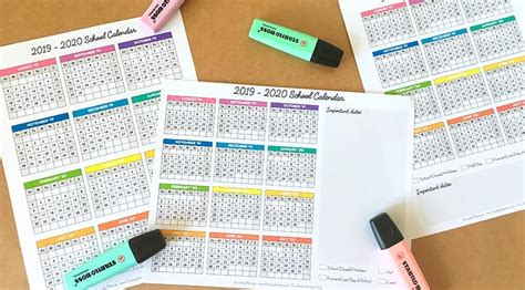 page school calendar  printable  school year