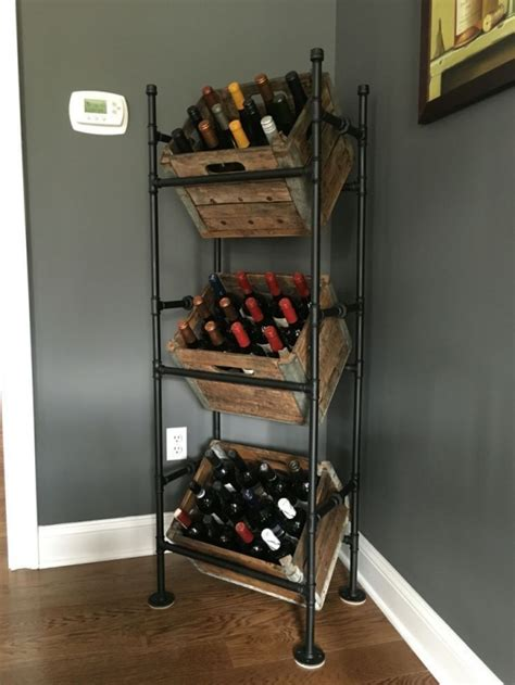 wine rack from pipes and milk crates by www