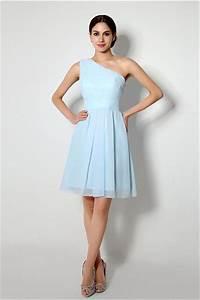 A Line One Shoulder Short Light Blue Chiffon Bridesmaid ...
