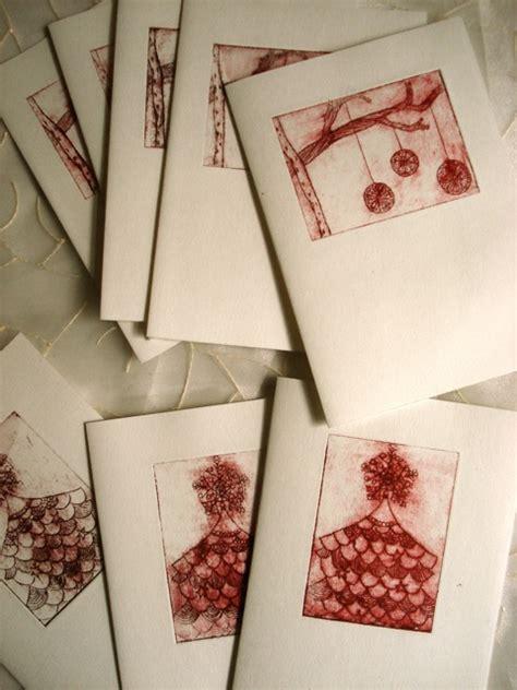 illustrationdrypointnakomie christmas cards printmaking