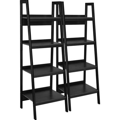 Black Bookcase by Ameriwood Ritter Black 4 Shelf Ladder Bookcase Bundle Set
