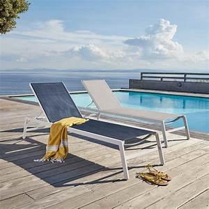 Bain De Soleil Gris : bain de soleil en aluminium blanc et toile plastifi e gris ~ Dode.kayakingforconservation.com Idées de Décoration