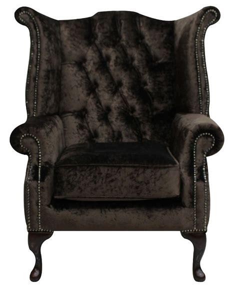 brown velvet chesterfield high back wing chair