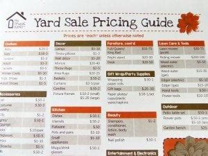 How To Price For A Garage Sale by Printable Yard Sale Pricing Guide