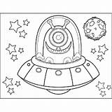 Saucer Coloring Flying Alien Space Pages Template Printable Print sketch template