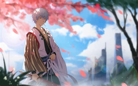 wallpaper sakata gintoki gintama sakura blossom smiling