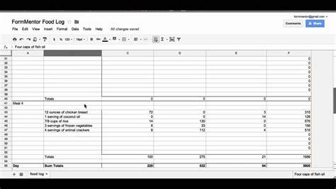 tracking caloriesmacros  google docs youtube