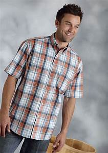Men S Dress Shirt Size Chart Big And Roper Mens Orange Plaid Cotton Short Sleeve Button