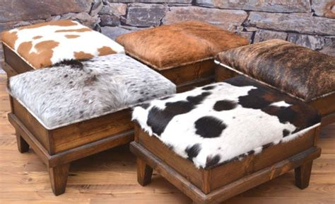Cowhide Footstool by Cowhide Pieces For The Living Room Magazine