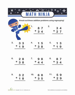 addition with carry over worksheets for grade 2 addition with carrying worksheet education com