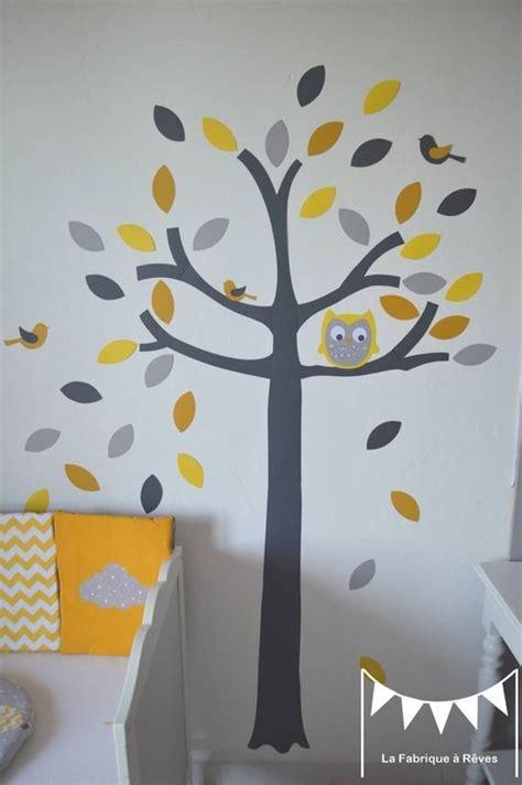 stickers chambre bébé mixte sur commande stickers arbre hibou et petits oiseaux