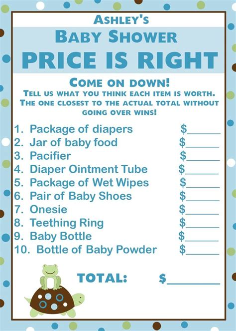 baby shower price is right 24 baby shower price is right cards turtle and frog
