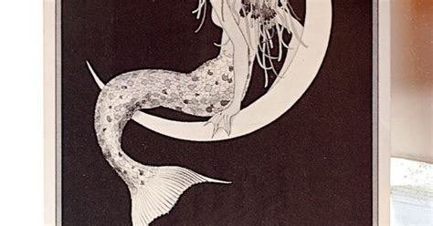 vintage mermaid  crescent moon postcard ted rand illustration google images mermaid  google