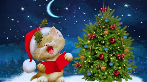 singing santa claus cat hd wallpaper wallpaper studio