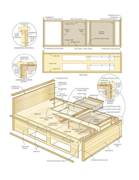 queen bed  storage woodworking plans woodshop plans