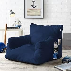 Loungie, Comfy, Foam, Bean, Bag, Chair, Nylon, Indoor, Outdoor, Self, Expanding, Water, Resistant, Navy