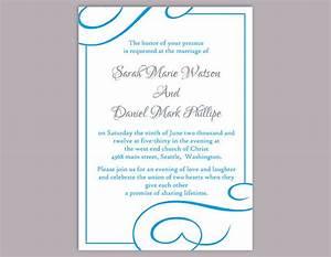 diy wedding invitation template editable word file instant With free wedding invitation templates turquoise