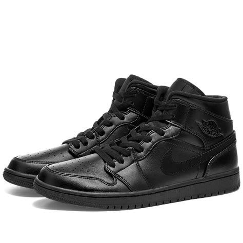 Nike Leather Air Jordan 1 Mid In Black For Men Lyst