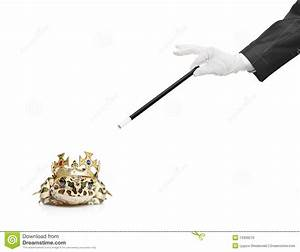 Magician Holding A Magic Wand And A Frog Stock Photo ...