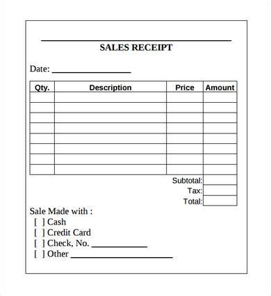 sales receipt template printable receipt template excel