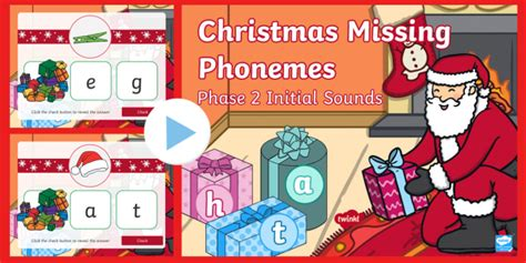 * New * Christmas Missing Phonemes  Phase 2 Initial Sounds