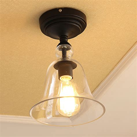 american country style light black iron glass flush mount ceiling light
